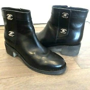 CHANEL BLACK TURN LOCK CC ANKLE BOOTS SIZE 7.5